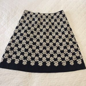 Boden navy floral embroidered a-line skirt